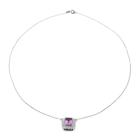 """Shop LC 925 Sterling Silver Octagon Kunzite White Zircon Necklace Platinum Plated Engagement Bridal Wedding Anniversary Jewelry For Her Size 18"""" Ct 3.2"""