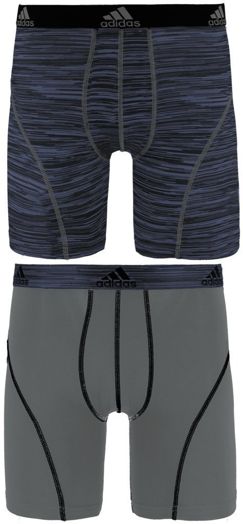 NEW in bag ADIDAS CLIMALITE performance BOXER BRIEF  GRAY Looper BLACK STRIPES