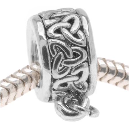 - Silver Tone Celtic Knot Trinity Band Bead - Charm Bail With Loop - European Style Large Hole