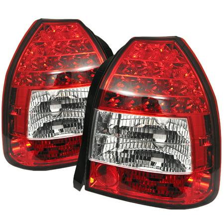 Spyder Honda Civic 96-00 3DR LED Tail Lights - Red Clear
