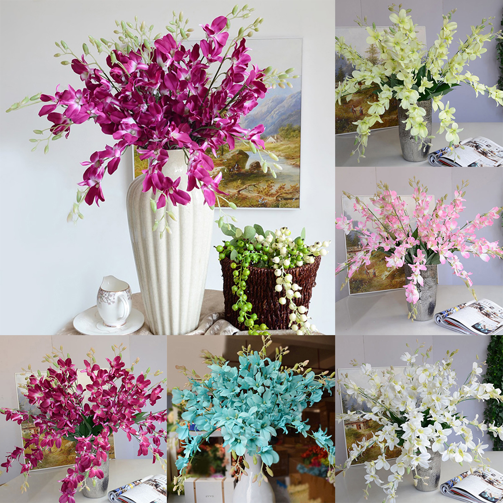 HiCoup Artificial Fake Orchid Flower Plant Home Office Wedding Party Decor Ornament