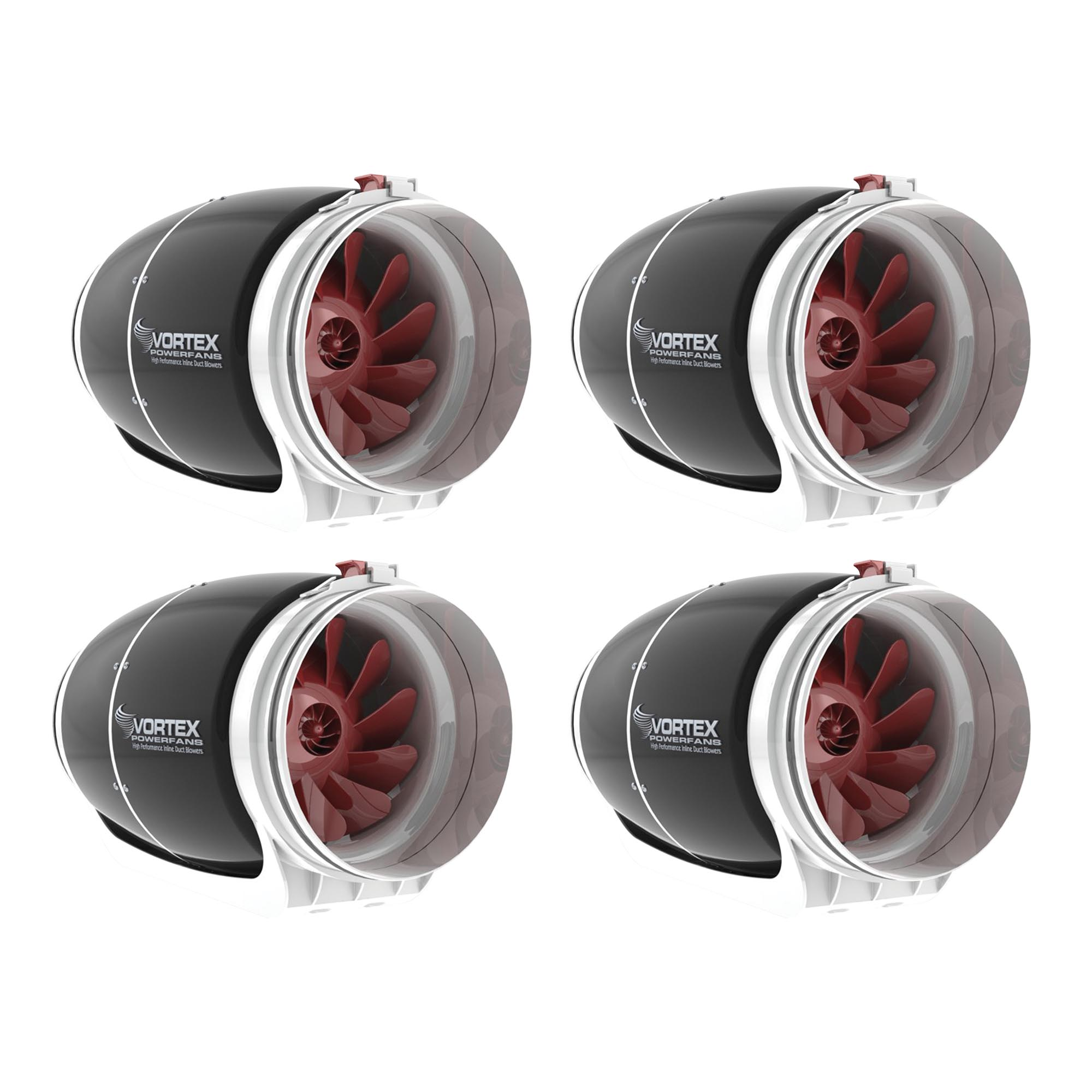 Vortex 8 Inch 728 CFM S Line Powerfan Inline Ventilation Duct Blower Fan, 4 Pack