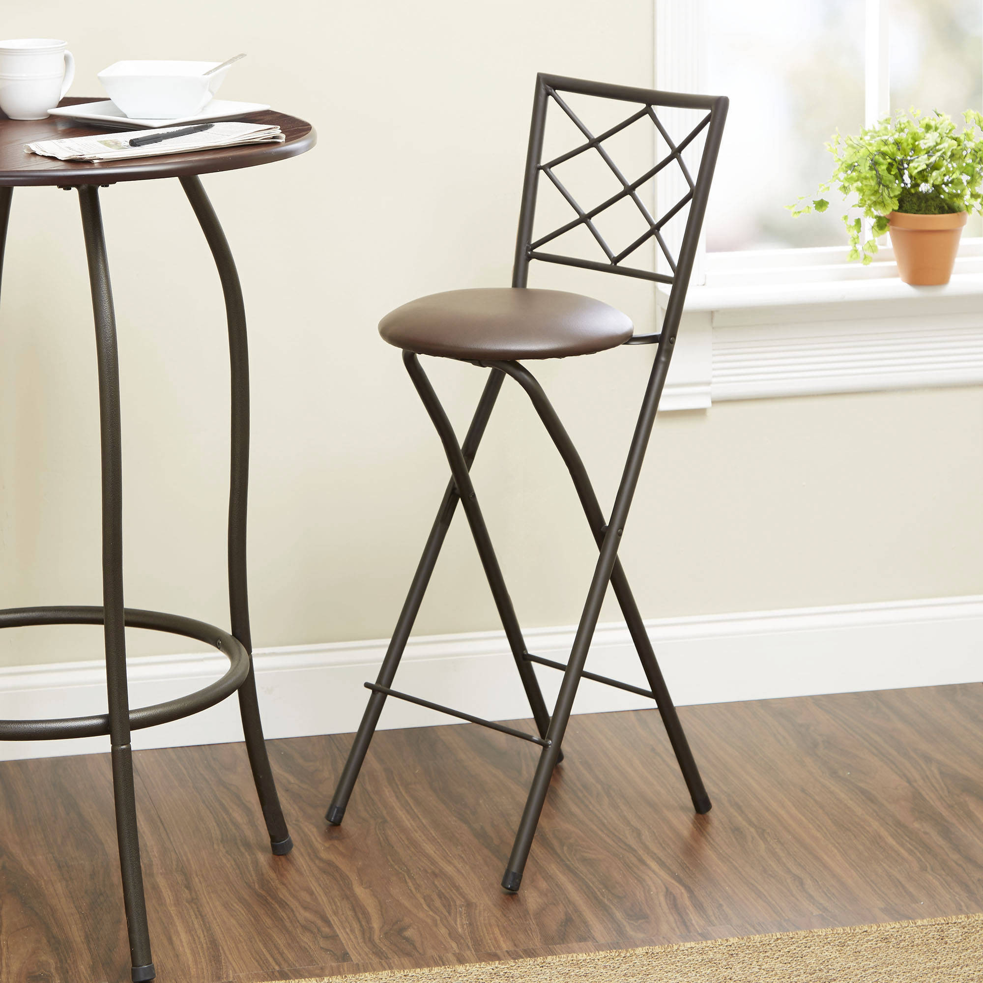 "Diamond X-Back Folding 30"" Counter Stool Bronze, Multiple Colors"