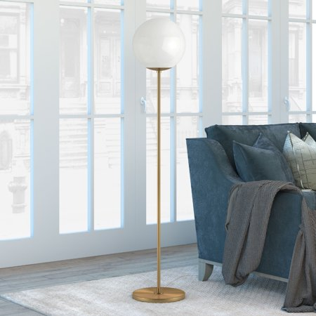 Theia Glam Globe Style Floor Lamp in White with Golden Brass Finish
