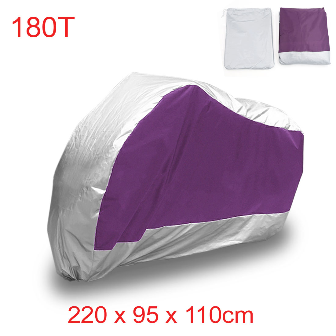 L 180T Purple Silver Outdoor Dust UV Protector For Harley Davidson Rain Motorcycle Cover