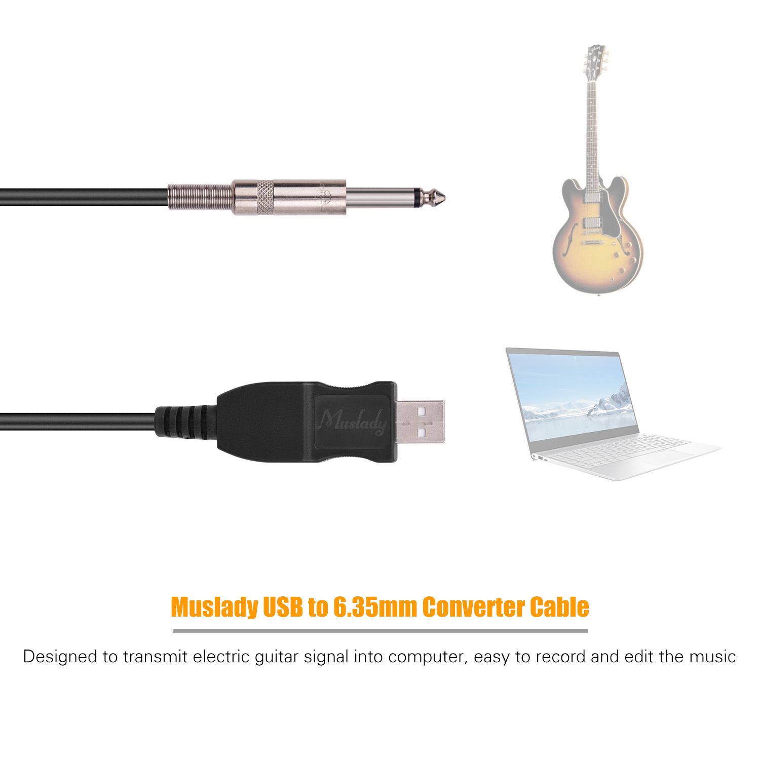 USB Guitar Cable USB Interface Male to 6.35mm Mono Male Electric Guitar Converter Cable Guitar Computer Connector Cord Adapter Cables for Studio Stage Instrument Recording Singing 3 Meter Black