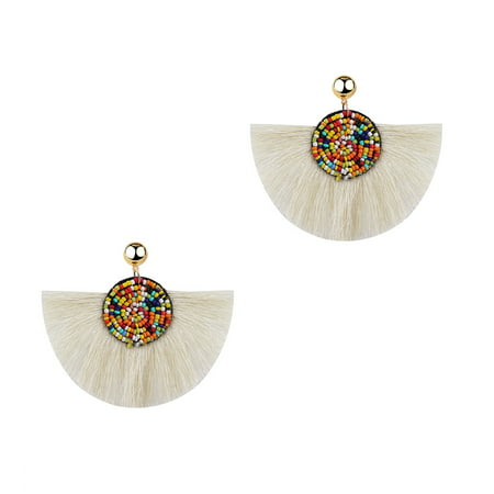 Jewelry Collection Bora Beaded Fringe Statement Earrings, White (Oval Fringe Earrings)