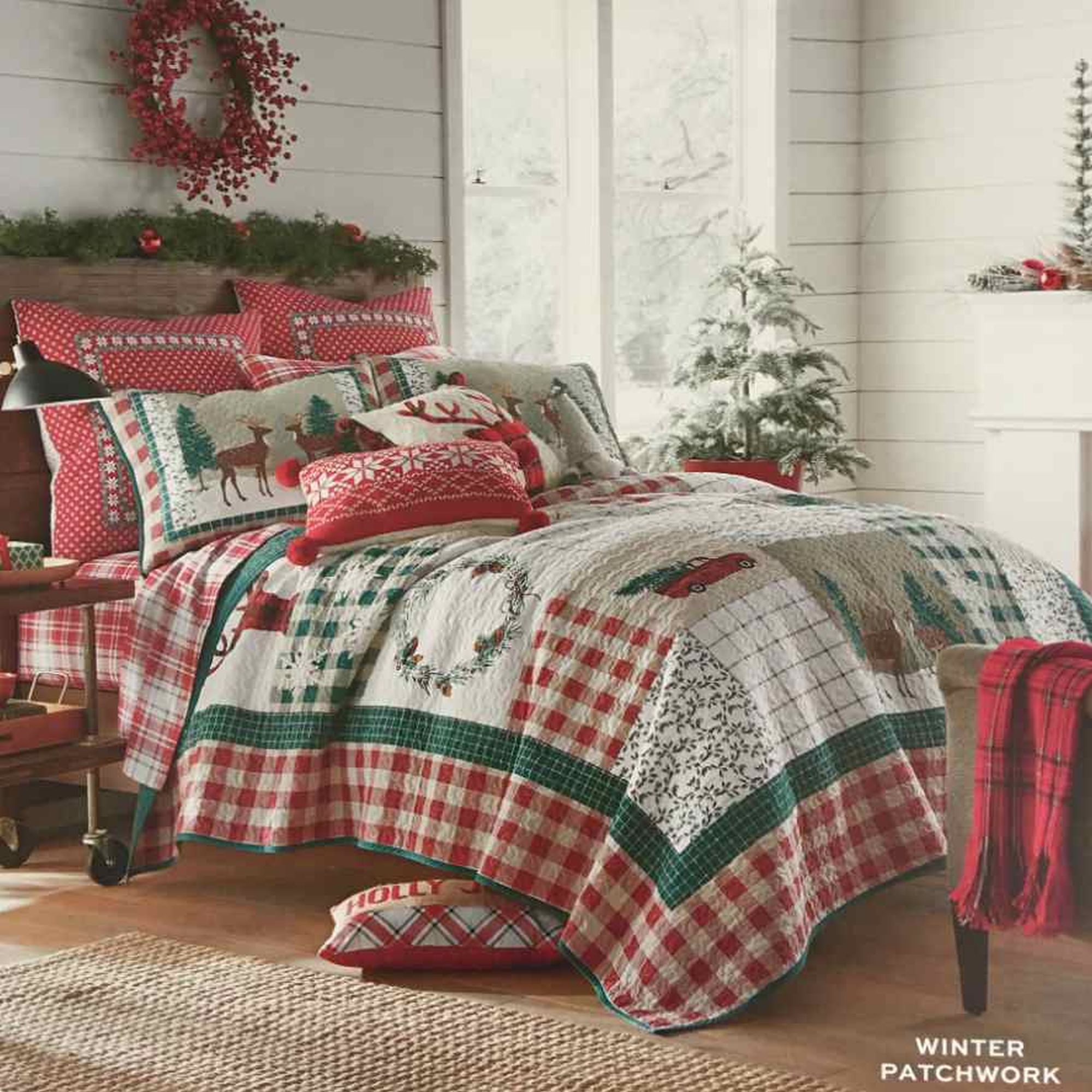 Winter Patchwork Reversible Christmas Lodge Twin Bed Quilt Sham Set 2 Pc Walmart Com Walmart Com