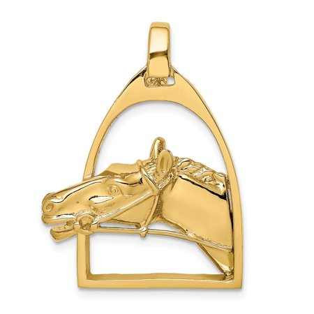 14k Gold Stirrup (14k Yellow Gold 2-D & Solid Polished Horse Head in Stirrup Charm Pendant)
