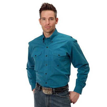 - Roper Western Shirt Mens Snaps L/S Pleated Green 03-001-0365-0665 GR