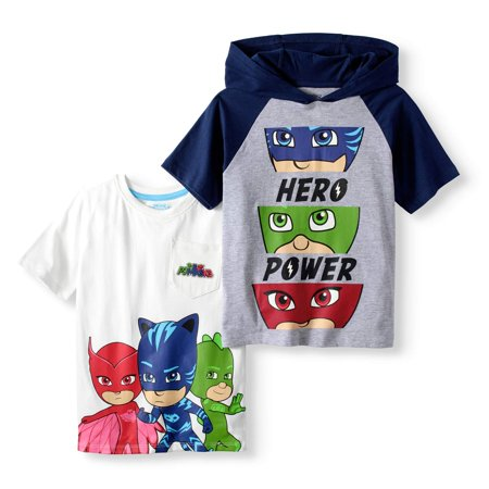 PJ Mask Boys' 'Hero Power' Hoodie T-Shirt & Character Pocket T-Shirt 2 Pack