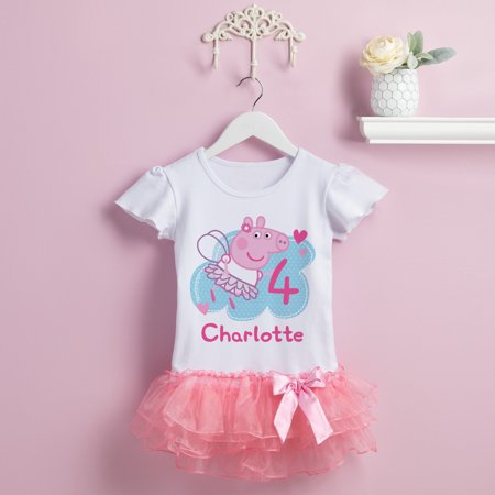 Personalized Peppa Pig Toddler Girls' Birthday Tutu T-Shirt -2T, 3T, 4T,