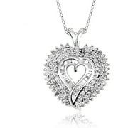 JewelersClub 1.00 Carat T.W. White Diamond Sterling Silver Heart Pendant
