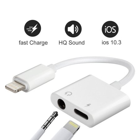 on sale a3d49 737c7 iPhone 7 Adapter & Splitter, 2 in 1 Aux Headphone Jack Audio & Charge Cable  Adapter,3.5mm Lightning Adapter for iPhone7/7Plus/8/8Plus/X, Support iOS ...