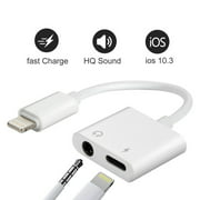 iPhone 7 Aux Adapter,  Lightning to 3.5mm Headphone Jack Audio Adapter 3 in 1 Aluminum Lightning Adapter Lightning Headphone Audio and Charger Adapter for iPhone 7 /7Plus /8 /8Plus /X
