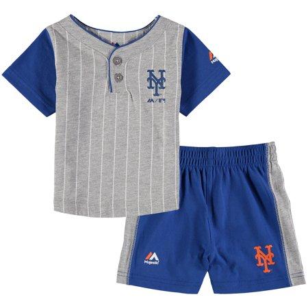 size 40 5b3f6 2ab4a New York Mets Majestic Infant Batter Up T-Shirt & Shorts Set - Gray/Royal