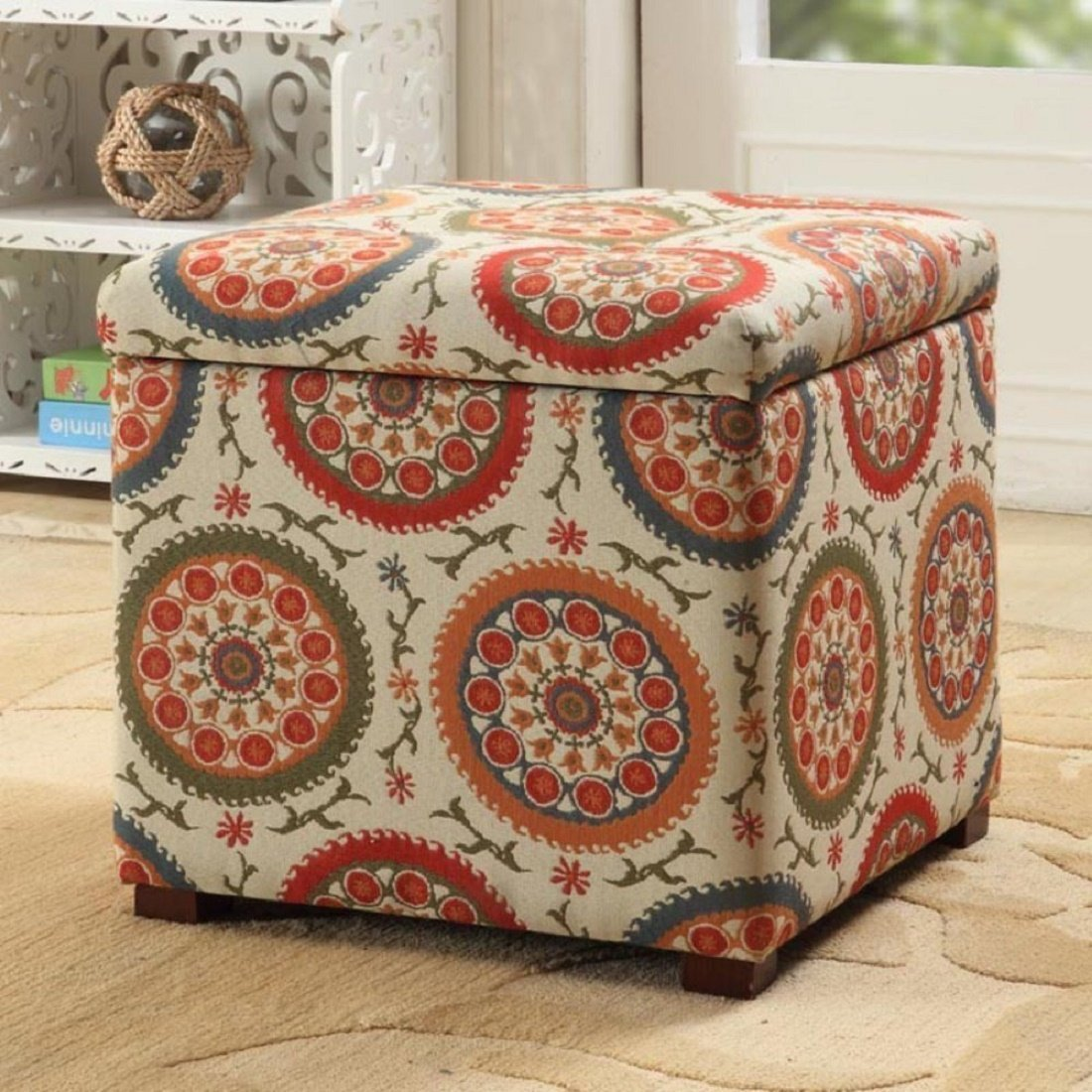 Kinfine Floral Storage Ottoman by