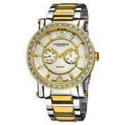 Akribos XXIV  Men's Stainless Steel Swiss Day/ Date Diamond Gold-Tone Watch