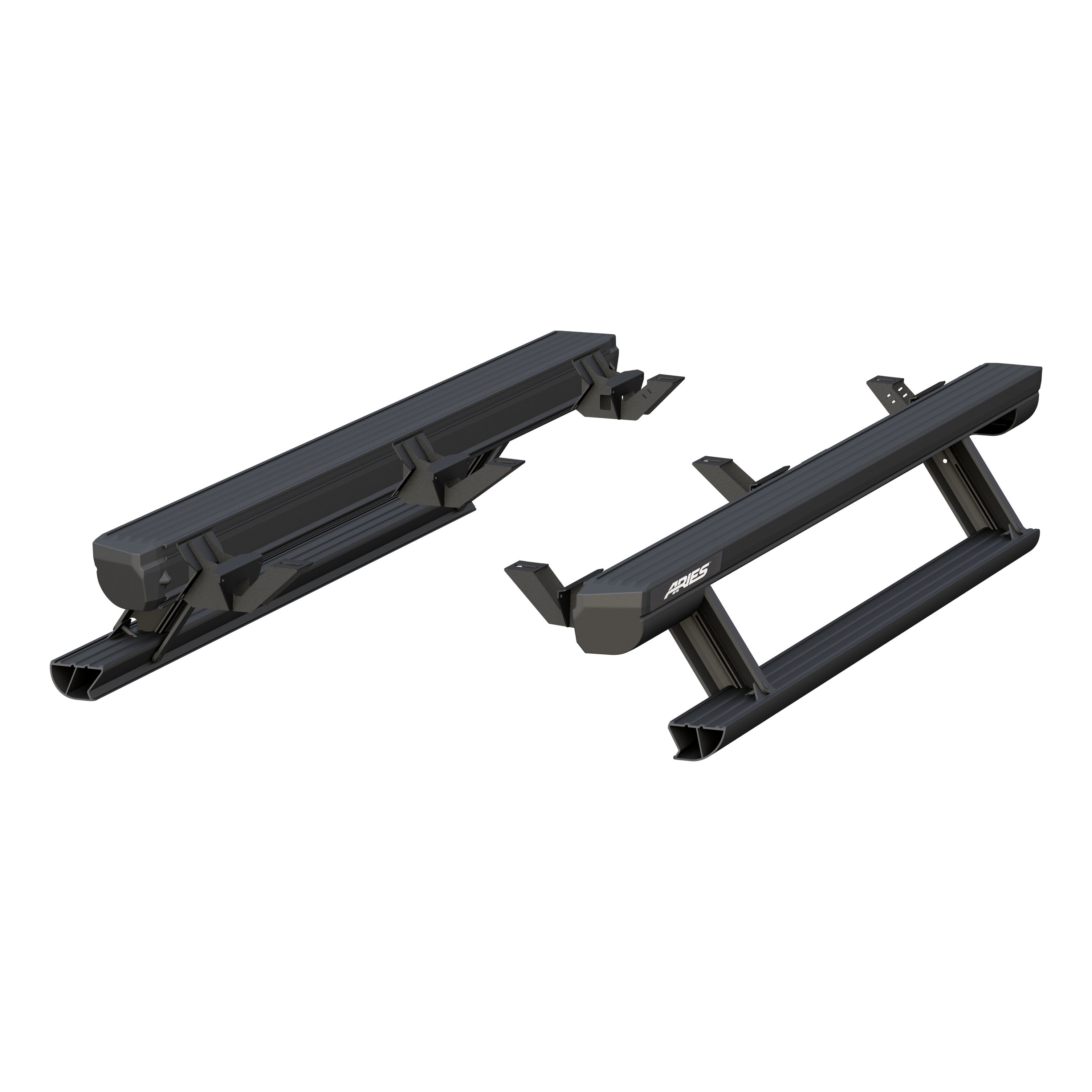 Aries Automotive 3036571 Actiontrac Powered Running Boards With Automated Patented Step-Within-A-Step - Black Powder-Coated Aluminum (1 Pair W/ Brackets)