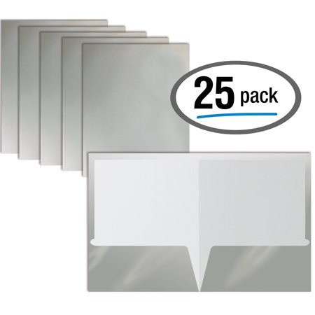 2 Pocket Glossy Laminated METALLIC SILVER Paper Folders, Letter Size, Metallic SILVER Paper Portfolios by Better Office Products, Box of 25 Metallic Silver Folders