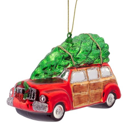 Car Christmas Ornaments.Pack Of 6 Vintage Red Car With Tree Glass Christmas Ornaments 2 5