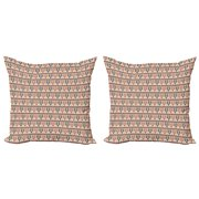 Ethnic Throw Pillow Cushion Cover Pack of 2, Pattern of Geometric Shapes Arranged in an Style, Zippered Double-Side Digital Print, 4 Sizes, Dark Salmon Eggshell, by Ambesonne