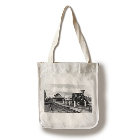 Fairbanks, Alaska - View of the Train Station Photograph (100% Cotton Tote Bag - Reusable) ()