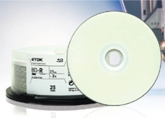 TDK Blu-ray, Single Layer, 25GB, WHT IJ Pro Hub Printable 1-2x by TDK