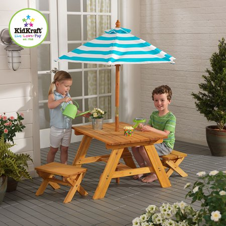 kidkraft outdoor table with benches and umbrella