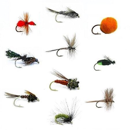 Feeder Creek Fly Fishing Flies Set of 30 for Trout and Freshwater Fish - 10 Patterns Fish Fishing Fly