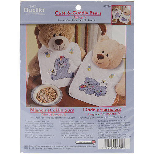 "Cute & Cuddly Bear Bib Pair Stamped Cross Stitch Kit, 9"" x 14"" Set Of 2"