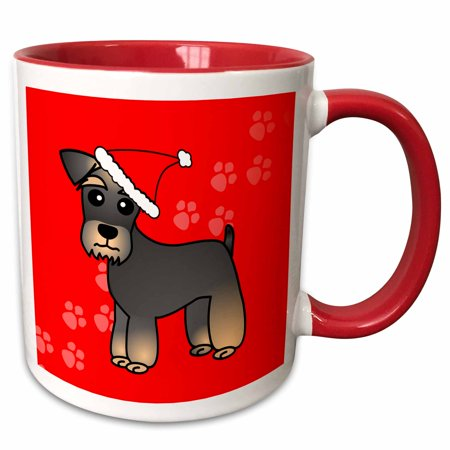 - 3dRose Miniature Schnauzer Banded Brown Base Coat (Salt and Pepper) - Cartoon Dog - Green with Santa Hat - Two Tone Red Mug, 11-ounce