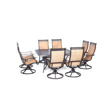Carolina Factory Direct Berkshire 9-Piece Outdoor Dining Set with Large Square Table and Eight Swivel Rockers