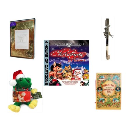 Christmas Fun Gift Bundle [5 Piece] -  Time Photo Cards W/ Envelopes 18 Count - Silver Reindeer Over The Door Wreath Hanger  - Vintage Movie Classics  at Home DVD -  Santa Frog  Gift Card Holder 6