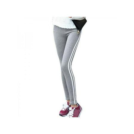 Topumt Women's Striped Print Leggings Retro Elastic Stretchy Slim Pants - Black And Blue Striped Leggings