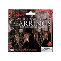 Womens Bronze Gothic Winged Skeleton Earrings Costume Accessories