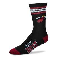 Miami Heat For Bare Feet 4-Stripe Deuce Team Color Performance Crew Socks - Men 10-13