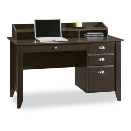 Mahogany Desk Hutch (Sauder Shoal Creek Desk with Storage Drawers and Hutch, Jamocha Wood)