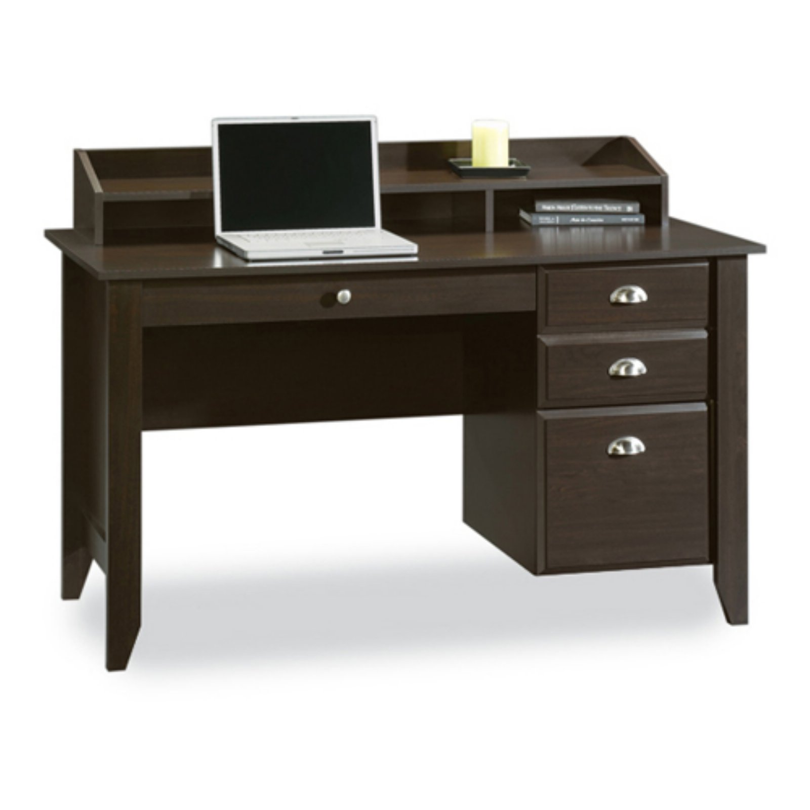 Sauder Shoal Creek Desk with Storage Drawers and Hutch, Jamocha Wood Finish