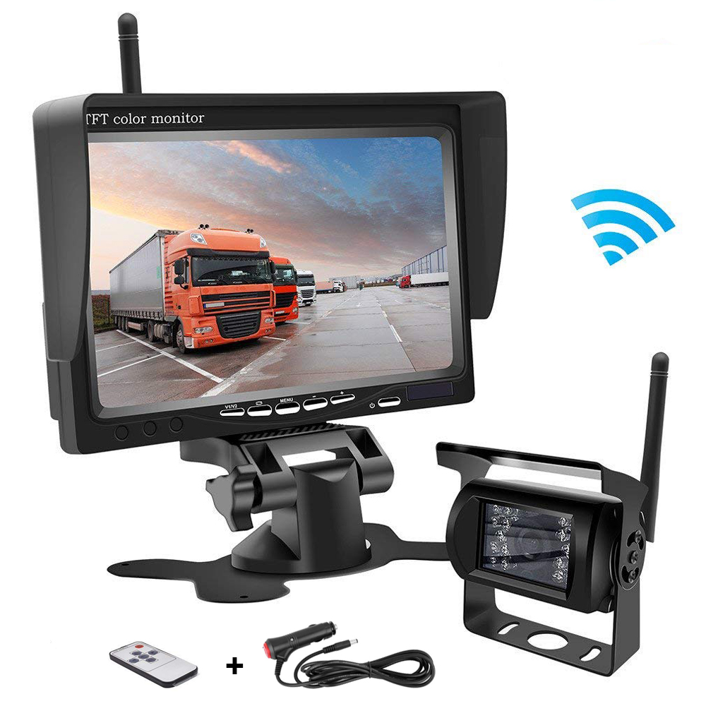 7 TFT Car LCD Monitor for Bus Truck Trailer RV Auto Vehicle Rear View Kit Parking Assistance System Wireless 18 LED IR Night Vision Waterproof Reversing Backup Camera 12V Black, 7 Bracket Monitor
