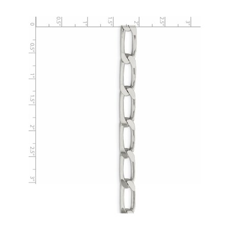 925 Sterling Silver 7.75mm Polished Long Curb Chain - image 1 of 4