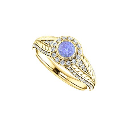 Jewelry Tanzanite and CZ Leaf Pattern Halo Ring 14K Yellow Gold - image 1 of 1