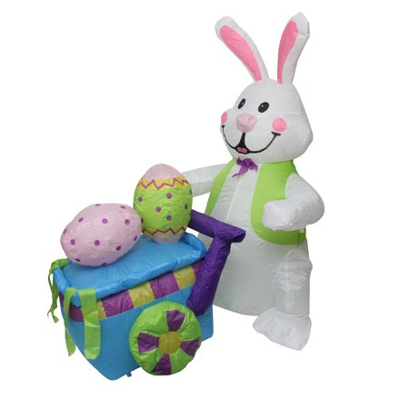 4' Inflatable Lighted Easter Bunny with Push Cart Outdoor - Outdoor Easter Bunny Decorations