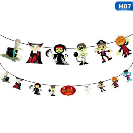 KABOER 2019 Halloween Party Decoration Pumpkin Ghost Bat Shape Paper Hanging Flag Home Bar Decor