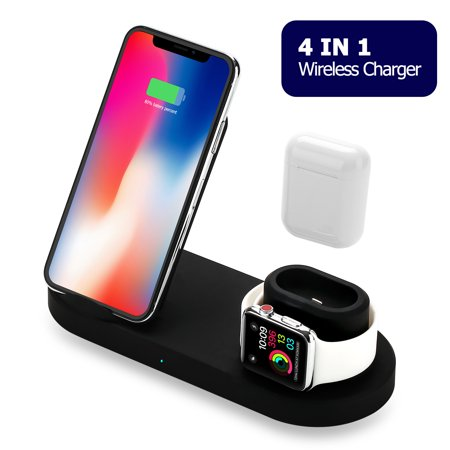 3 in 1 Wireless Charger, Wireless Charging Station for Apple Watch Series 4/3/2/1 & AirPods, 10W Qi Fast Wireless Charger Stand for iPhone Xs Max Xs XR X 8 8 Plus, Samsung S10 S9+ Note