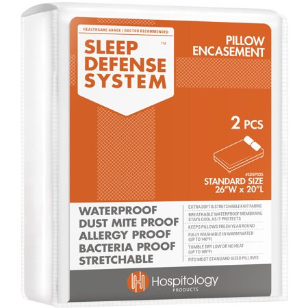 Image of Hospitology Sleep Defense System Waterproof/Dust Mite Proof Pillow Encasement, Set of 2