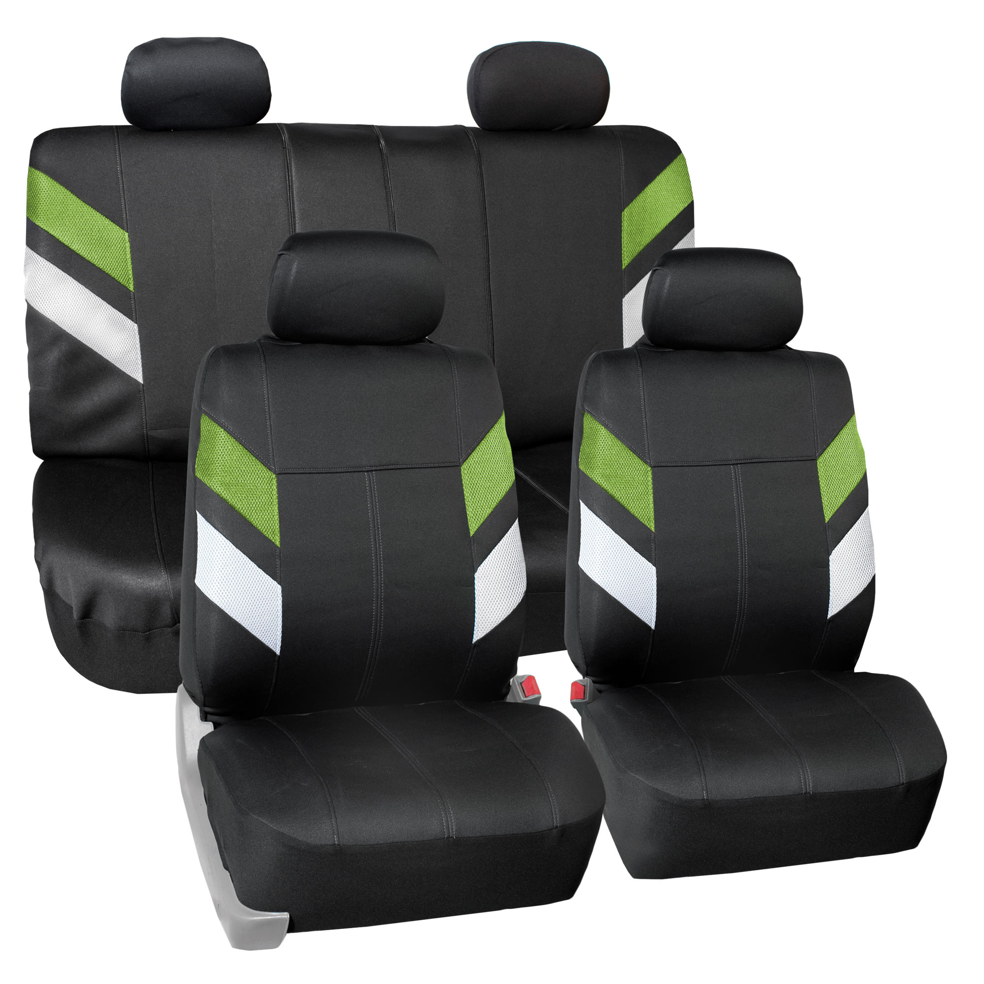 FH Group, Neoprene Car Seat Covers for Auto Car SUV Van 4 Headrest Full Set 12 Colors