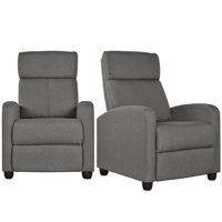 Set of 2 Theater Recliner Chair with Footrest,Gray Fabric