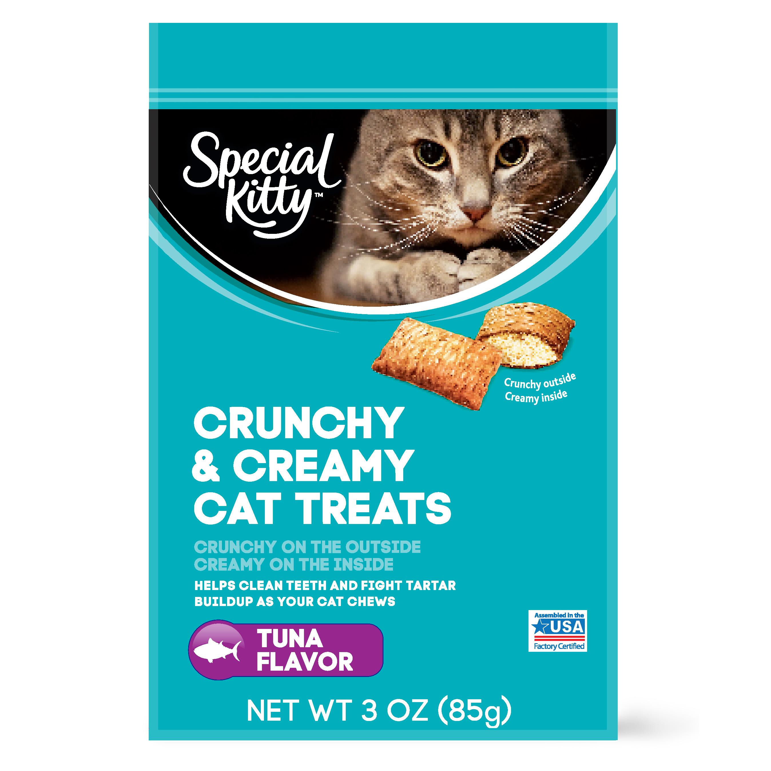 (6 pack) Special Kitty Crunchy & Creamy Cat Treats, Tuna Flavor, 3 Oz