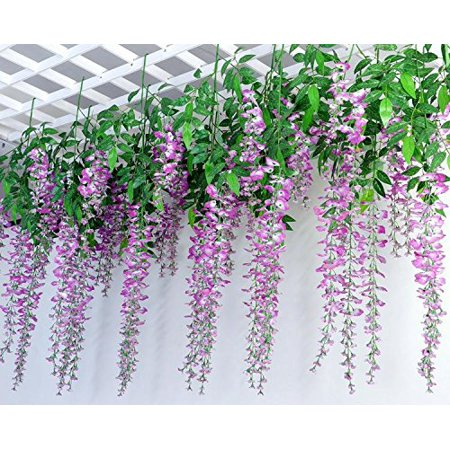 e-Joy 3.6 Feet Artificial Wisteria Vine Ratta Silk Hanging Flower Wedding Decor, 24 Pieces Purple](Purple Flower Petals)